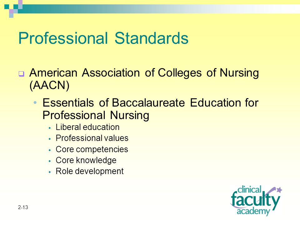 2-13 Professional Standards  American Association of Colleges of Nursing (AACN) Essentials of Baccalaureate Education for Professional Nursing  Liberal education  Professional values  Core competencies  Core knowledge  Role development