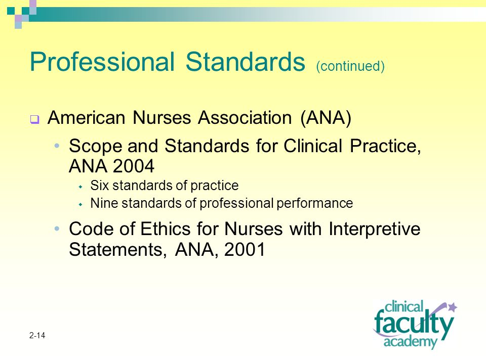 2-14 Professional Standards (continued)  American Nurses Association (ANA) Scope and Standards for Clinical Practice, ANA 2004  Six standards of practice  Nine standards of professional performance Code of Ethics for Nurses with Interpretive Statements, ANA, 2001