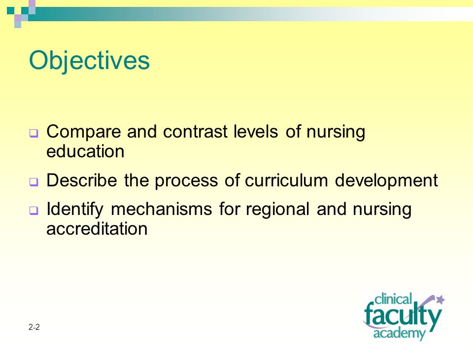 2-2 Objectives  Compare and contrast levels of nursing education  Describe the process of curriculum development  Identify mechanisms for regional and nursing accreditation
