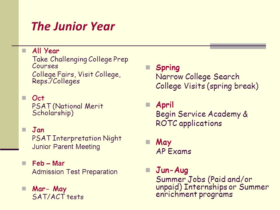 The Junior Year All Year Take Challenging College Prep Courses College Fairs, Visit College, Reps./Colleges Oct PSAT (National Merit Scholarship) Jan PSAT Interpretation Night Junior Parent Meeting Feb – Mar Admission Test Preparation Mar- May SAT/ACT tests Spring Narrow College Search College Visits (spring break) April Begin Service Academy & ROTC applications May AP Exams Jun-Aug Summer Jobs (Paid and/or unpaid) Internships or Summer enrichment programs