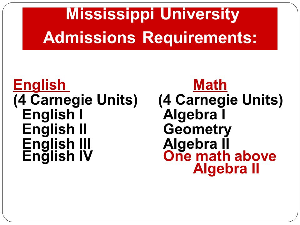 Mississippi University Admissions Requirements: English Math (4 Carnegie Units) English IAlgebra I English IIGeometry English IIIAlgebra II English IVOne math above Algebra II