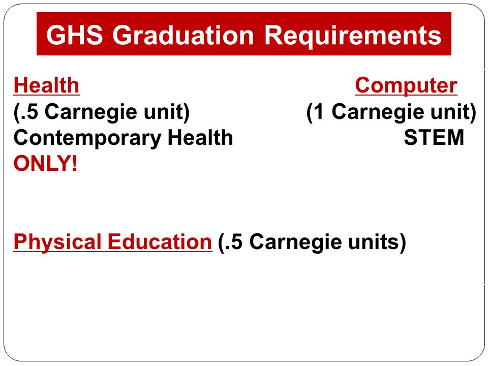 GHS Graduation Requirements Health Computer (.5 Carnegie unit) (1 Carnegie unit) Contemporary Health STEM ONLY.