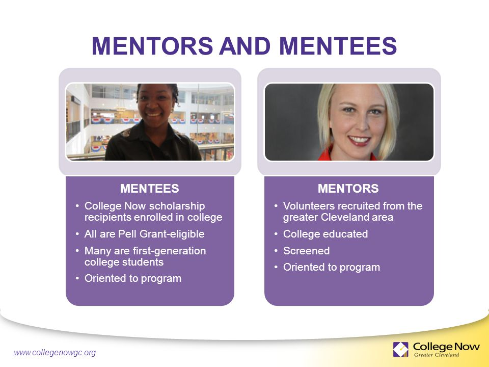 4/21/ MENTORS Volunteers recruited from the greater Cleveland area College educated Screened Oriented to program MENTORS AND MENTEES MENTEES College Now scholarship recipients enrolled in college All are Pell Grant-eligible Many are first-generation college students Oriented to program