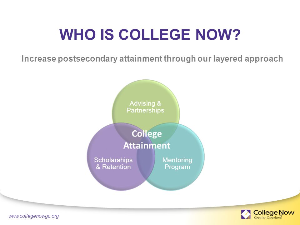 4/21/ Increase postsecondary attainment through our layered approach Advising & Partnerships Mentoring Program Scholarships & Retention College Attainment WHO IS COLLEGE NOW