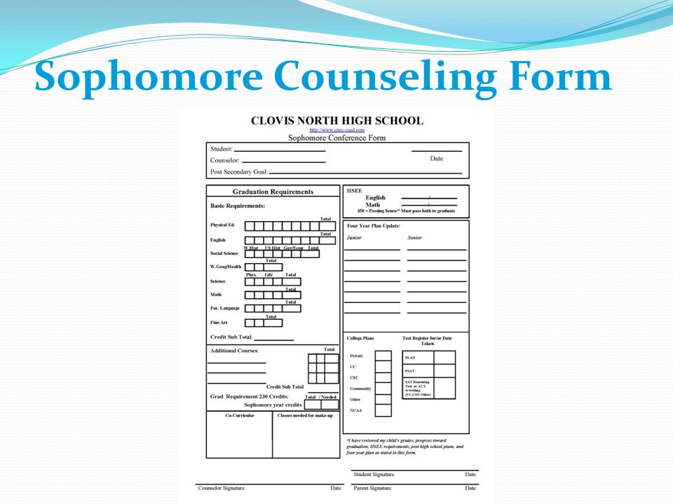 Sophomore Counseling Form