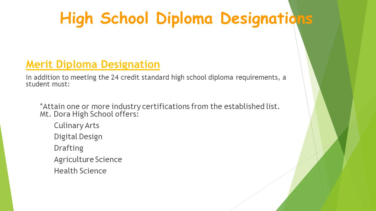 Merit Diploma Designation In addition to meeting the 24 credit standard high school diploma requirements, a student must: *Attain one or more industry certifications from the established list.