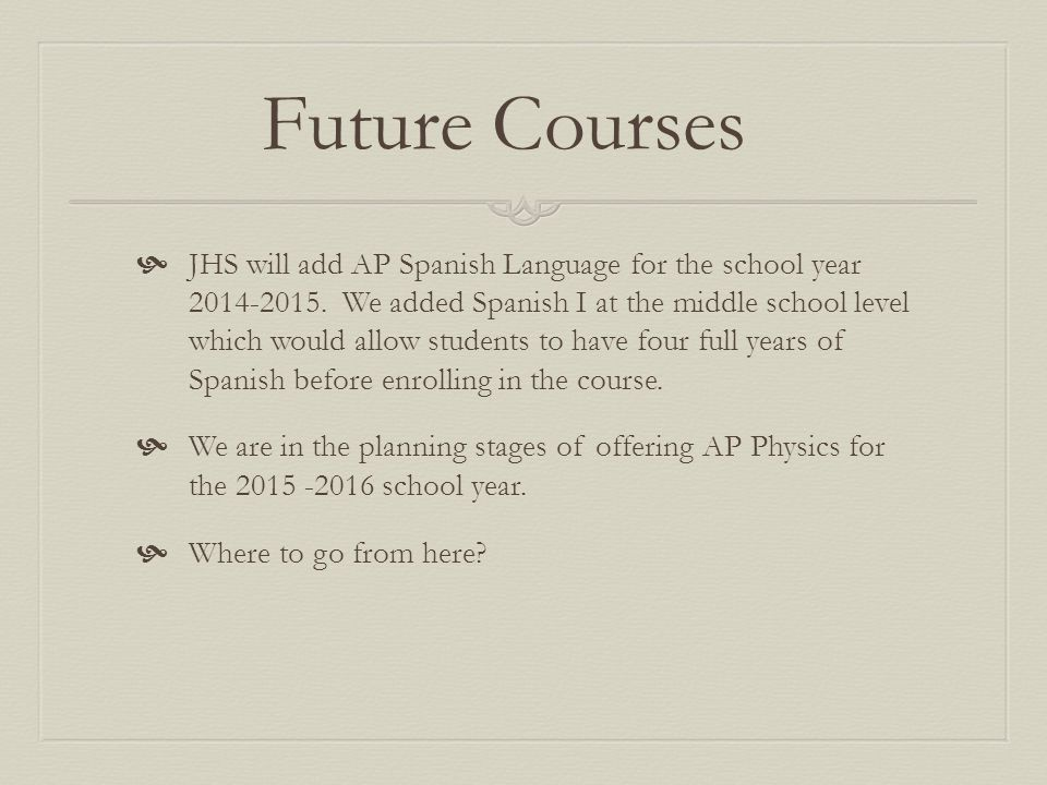 Future Courses  JHS will add AP Spanish Language for the school year