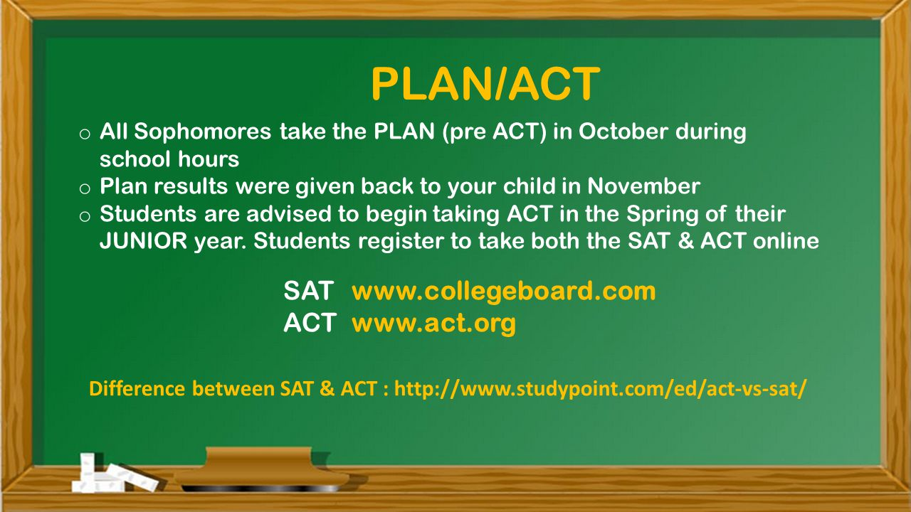 o All Sophomores take the PLAN (pre ACT) in October during school hours o Plan results were given back to your child in November o Students are advised to begin taking ACT in the Spring of their JUNIOR year.