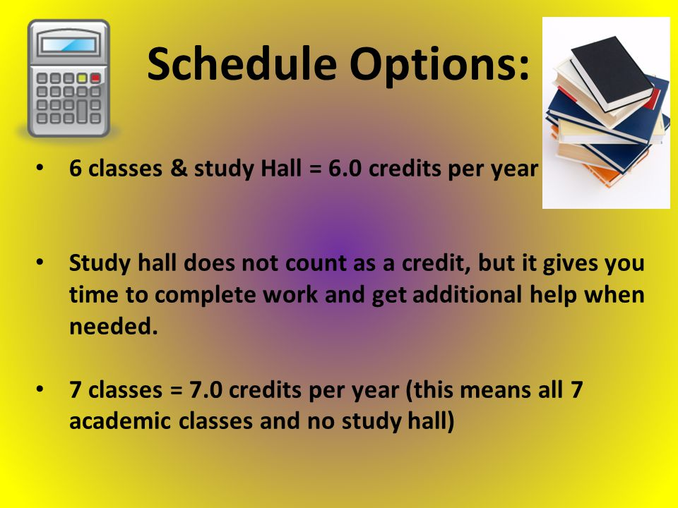 6 classes & study Hall = 6.0 credits per year Study hall does not count as a credit, but it gives you time to complete work and get additional help when needed.