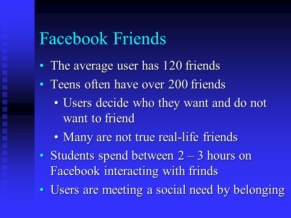 Facebook Friends The average user has 120 friendsThe average user has 120 friends Teens often have over 200 friendsTeens often have over 200 friends Users decide who they want and do not want to friendUsers decide who they want and do not want to friend Many are not true real-life friendsMany are not true real-life friends Students spend between 2 – 3 hours on Facebook interacting with frindsStudents spend between 2 – 3 hours on Facebook interacting with frinds Users are meeting a social need by belongingUsers are meeting a social need by belonging