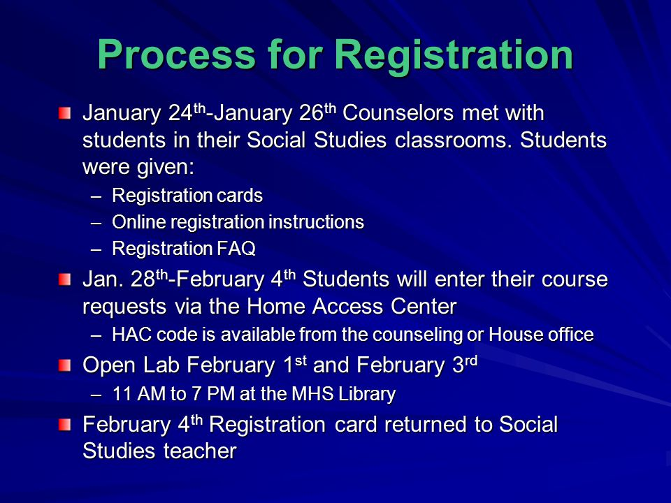 Process for Registration January 24 th -January 26 th Counselors met with students in their Social Studies classrooms.