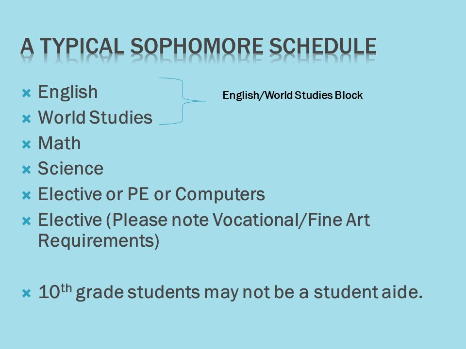  English  World Studies  Math  Science  Elective or PE or Computers  Elective (Please note Vocational/Fine Art Requirements)  10 th grade students may not be a student aide.