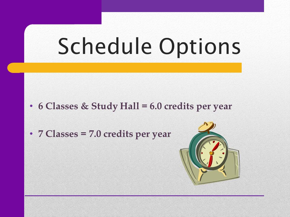 Schedule Options 6 Classes & Study Hall = 6.0 credits per year 7 Classes = 7.0 credits per year