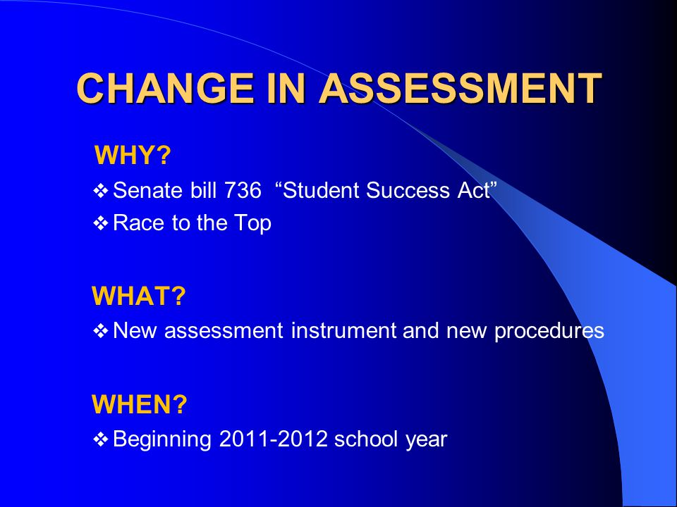 CHANGE IN ASSESSMENT WHY.  Senate bill 736 Student Success Act  Race to the Top WHAT.