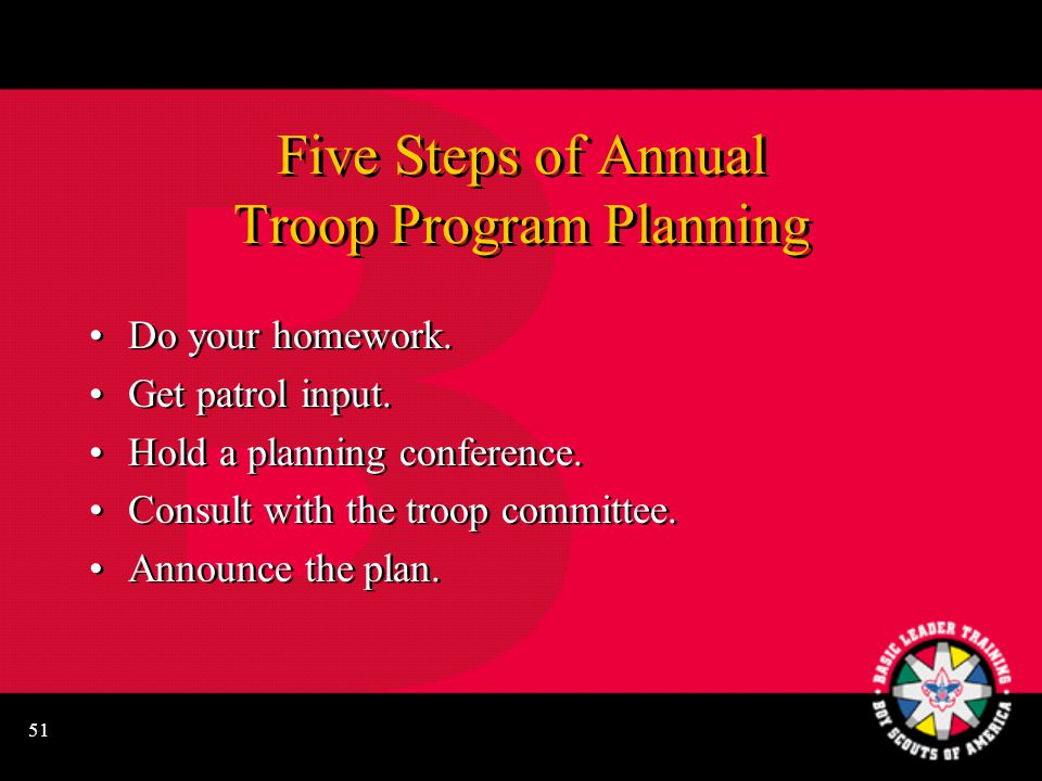 51 Five Steps of Annual Troop Program Planning Do your homework.