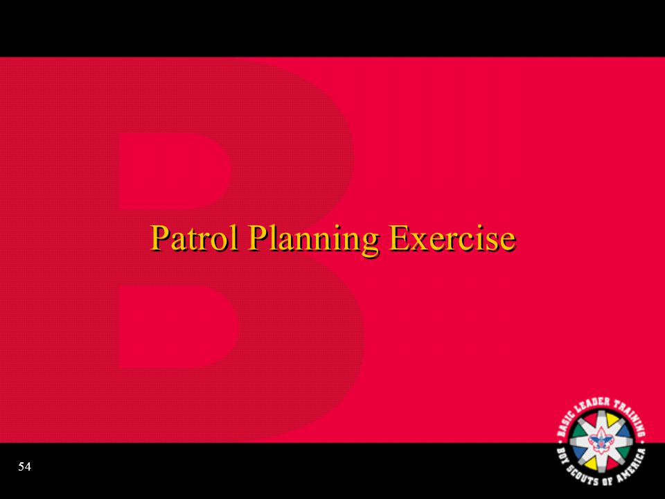 54 Patrol Planning Exercise