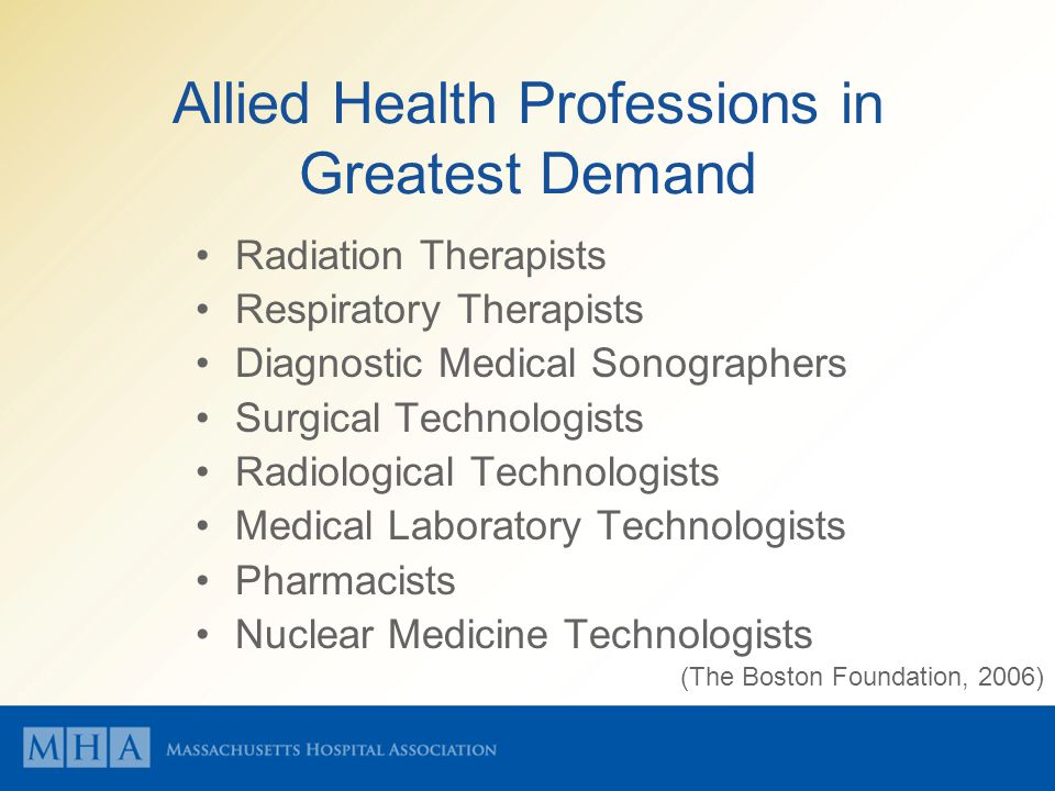 Allied Health Professions in Greatest Demand Radiation Therapists Respiratory Therapists Diagnostic Medical Sonographers Surgical Technologists Radiological Technologists Medical Laboratory Technologists Pharmacists Nuclear Medicine Technologists (The Boston Foundation, 2006)