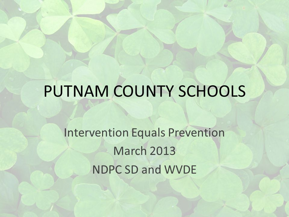 PUTNAM COUNTY SCHOOLS Intervention Equals Prevention March 2013 NDPC SD and WVDE