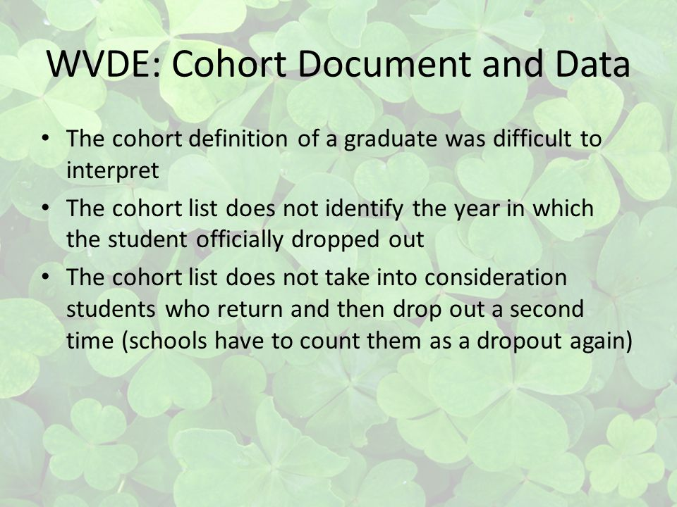WVDE: Cohort Document and Data The cohort definition of a graduate was difficult to interpret The cohort list does not identify the year in which the student officially dropped out The cohort list does not take into consideration students who return and then drop out a second time (schools have to count them as a dropout again)
