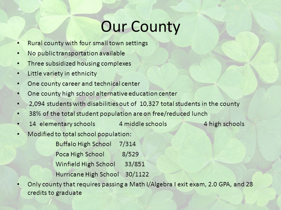 Our County Rural county with four small town settings No public transportation available Three subsidized housing complexes Little variety in ethnicity One county career and technical center One county high school alternative education center 2,094 students with disabilities out of 10,327 total students in the county 38% of the total student population are on free/reduced lunch 14 elementary schools 4 middle schools 4 high schools Modified to total school population: Buffalo High School 7/314 Poca High School 8/529 Winfield High School 33/851 Hurricane High School 30/1122 Only county that requires passing a Math I/Algebra I exit exam, 2.0 GPA, and 28 credits to graduate