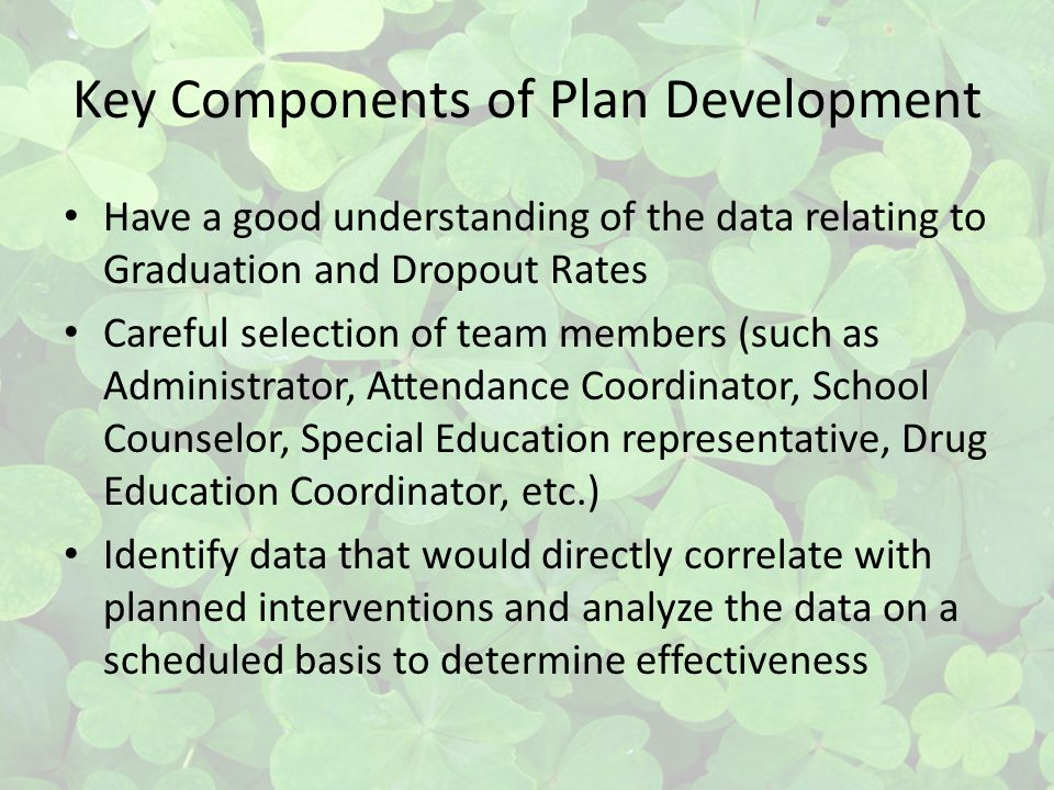 Key Components of Plan Development Have a good understanding of the data relating to Graduation and Dropout Rates Careful selection of team members (such as Administrator, Attendance Coordinator, School Counselor, Special Education representative, Drug Education Coordinator, etc.) Identify data that would directly correlate with planned interventions and analyze the data on a scheduled basis to determine effectiveness
