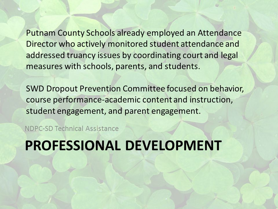 PROFESSIONAL DEVELOPMENT NDPC-SD Technical Assistance Putnam County Schools already employed an Attendance Director who actively monitored student attendance and addressed truancy issues by coordinating court and legal measures with schools, parents, and students.