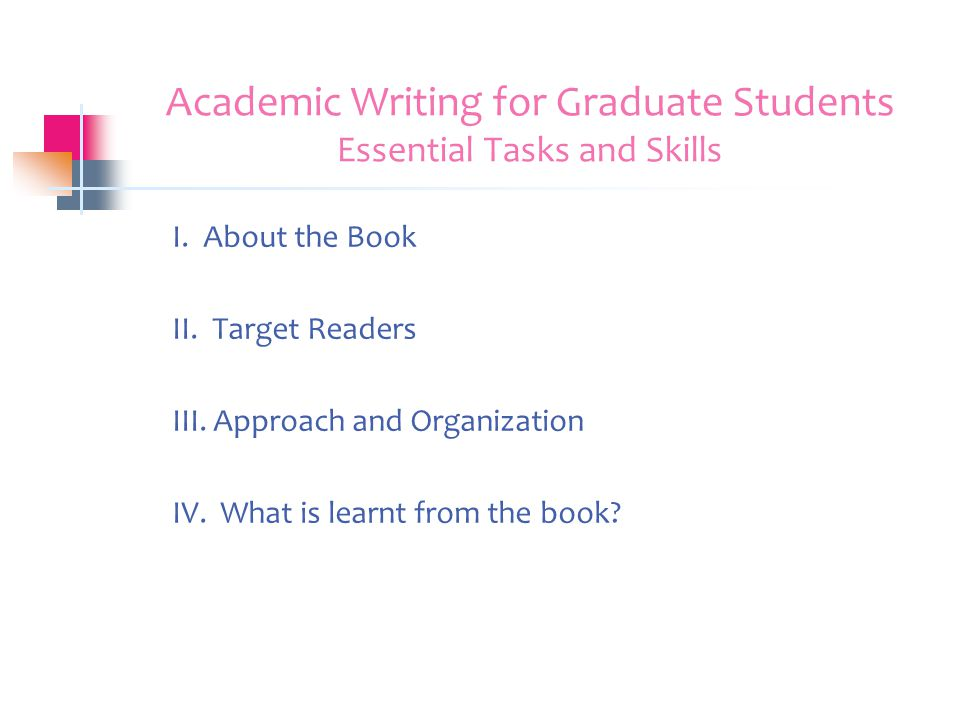Book Report Academic Writing For Graduate Students Essential Tasks