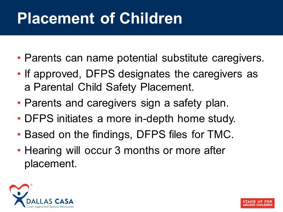 Parents can name potential substitute caregivers.
