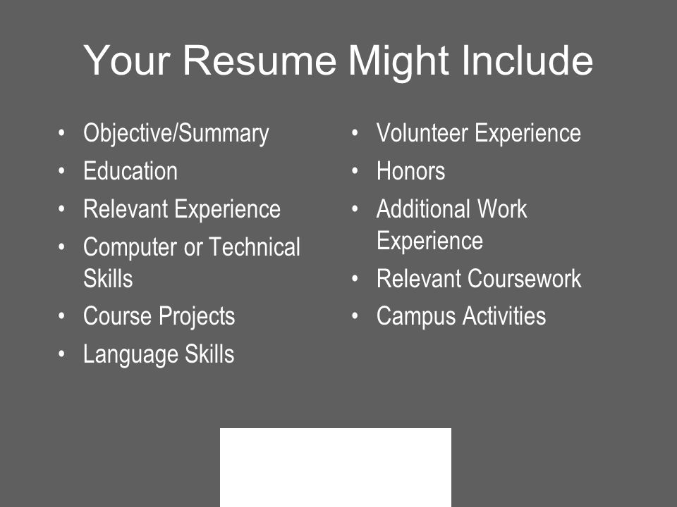 Your Resume Might Include Objective/Summary Education Relevant Experience Computer or Technical Skills Course Projects Language Skills Volunteer Experience Honors Additional Work Experience Relevant Coursework Campus Activities