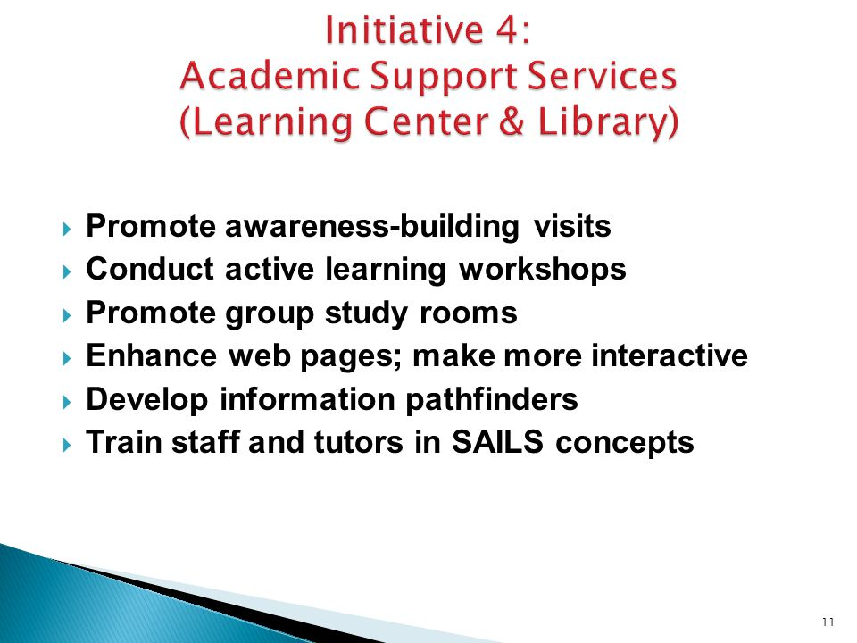  Promote awareness-building visits  Conduct active learning workshops  Promote group study rooms  Enhance web pages; make more interactive  Develop information pathfinders  Train staff and tutors in SAILS concepts 11
