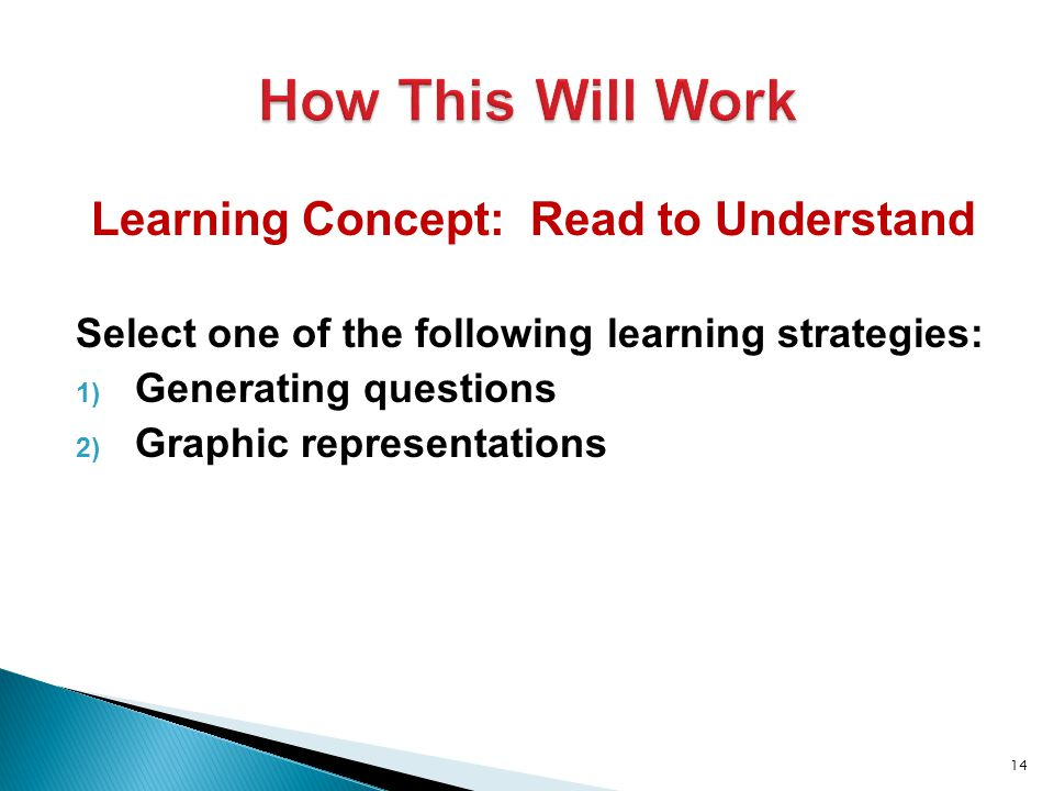 Learning Concept: Read to Understand Select one of the following learning strategies: 1) Generating questions 2) Graphic representations 14