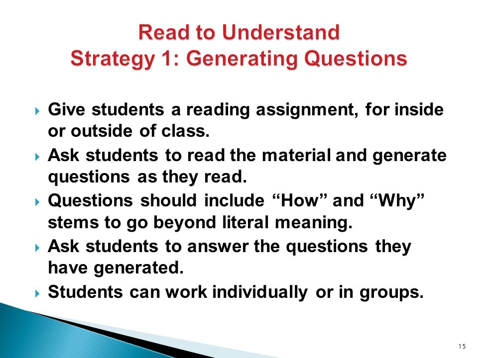  Give students a reading assignment, for inside or outside of class.