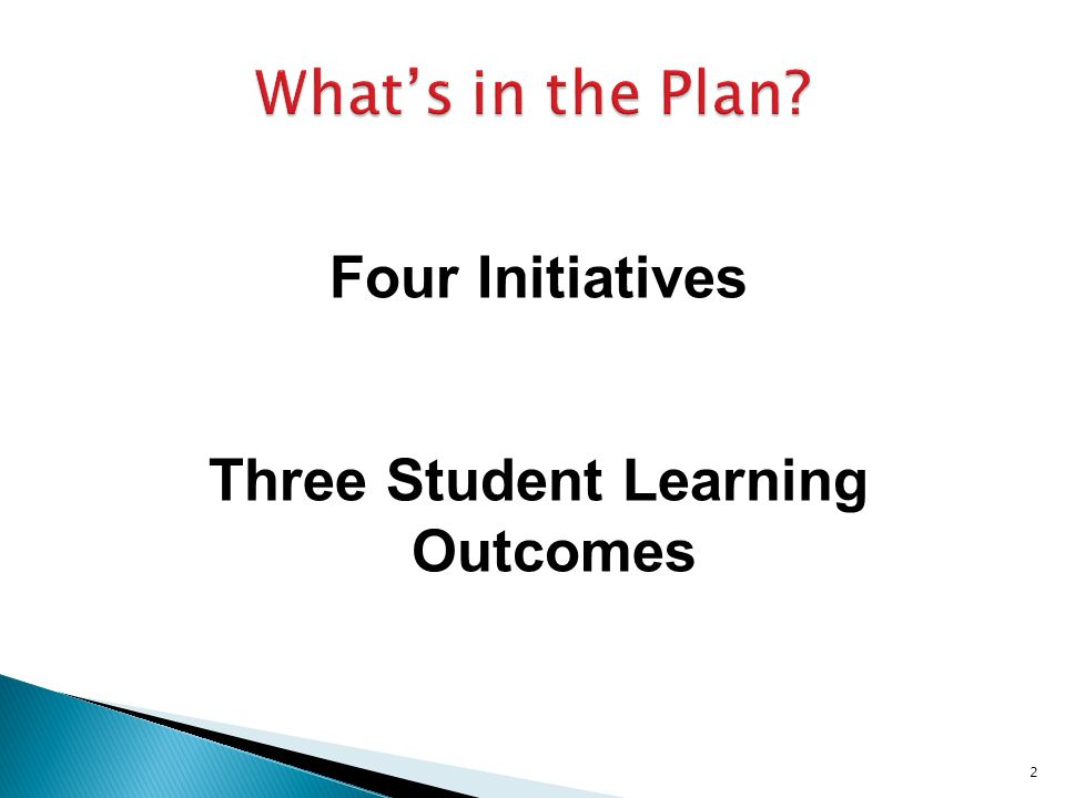 Four Initiatives Three Student Learning Outcomes 2