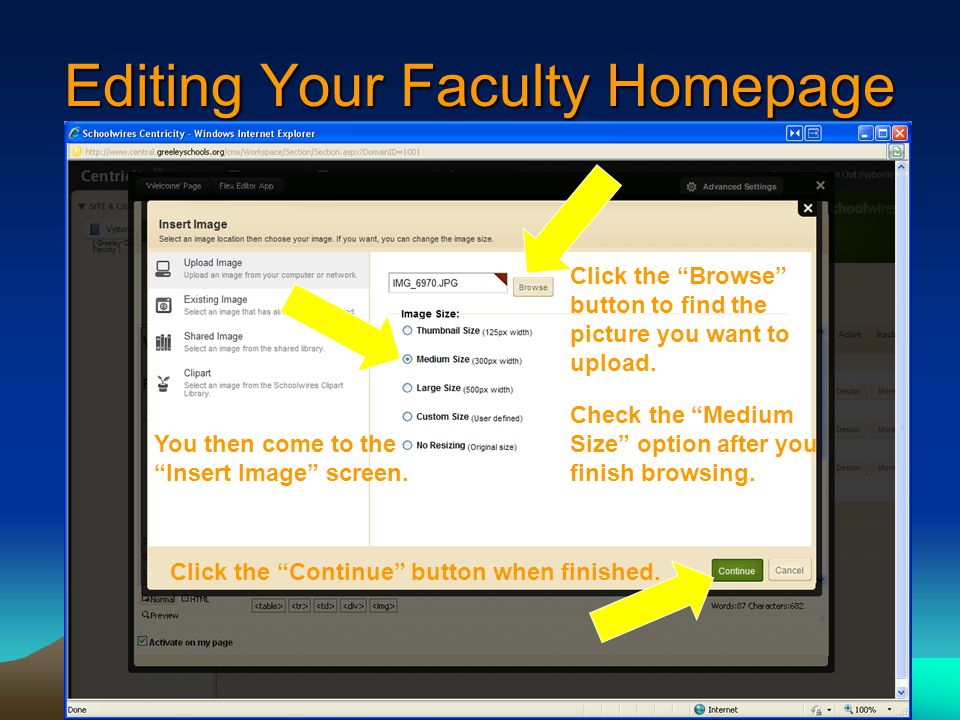 Editing Your Faculty Homepage You then come to the Insert Image screen.