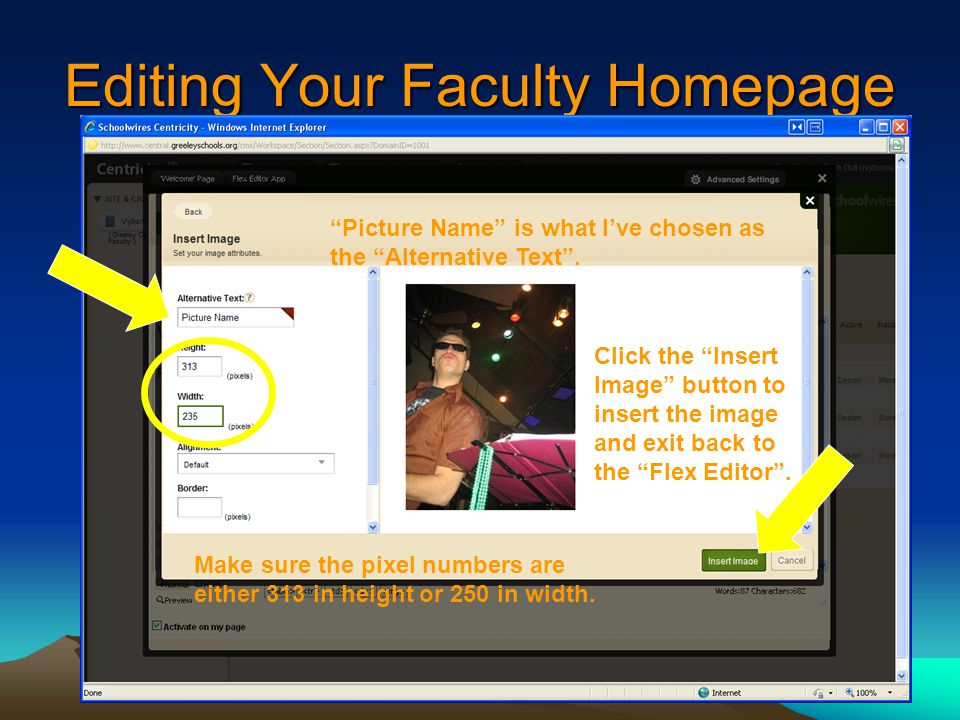 Editing Your Faculty Homepage Picture Name is what I've chosen as the Alternative Text .
