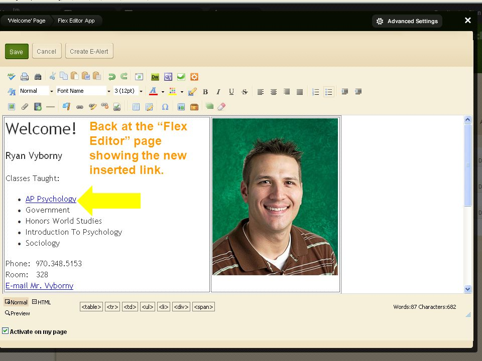 Editing Your Faculty Homepage Back at the Flex Editor page showing the new inserted link.