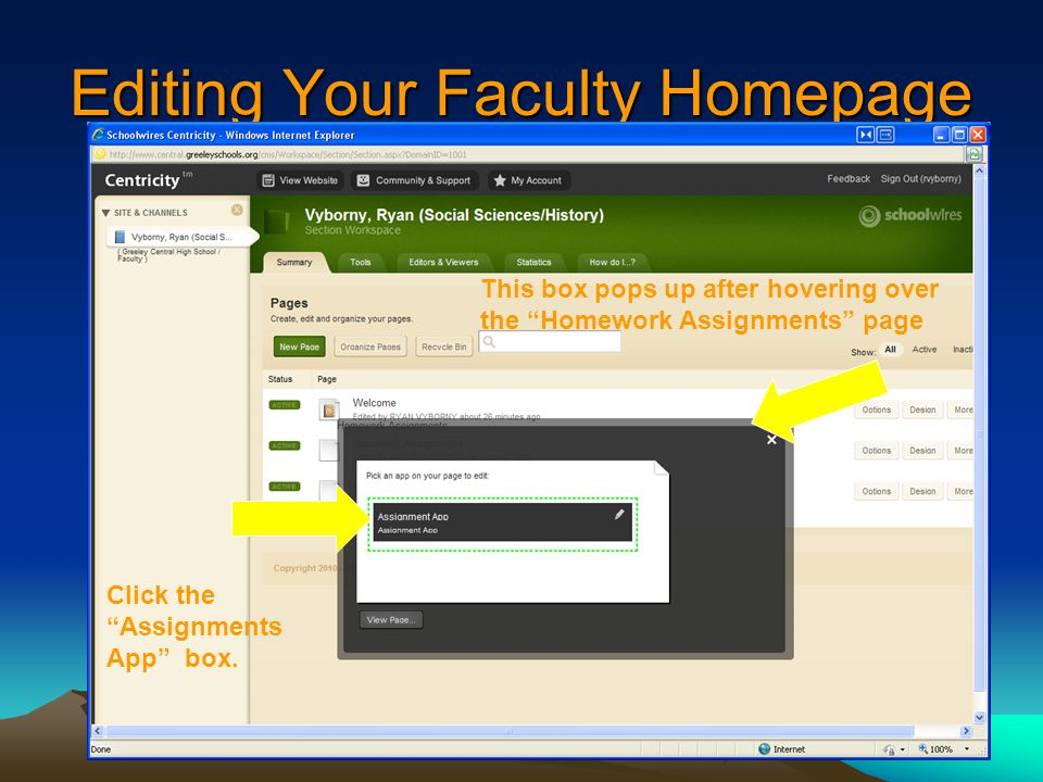 Editing Your Faculty Homepage Click the Assignments App box.