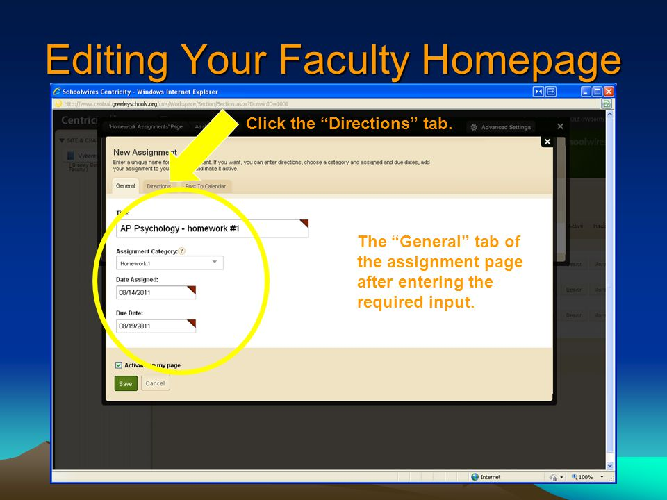 Editing Your Faculty Homepage The General tab of the assignment page after entering the required input.