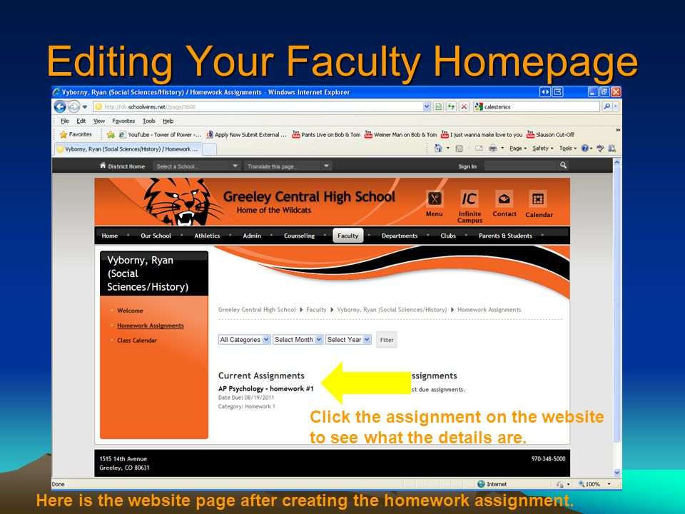 Editing Your Faculty Homepage Here is the website page after creating the homework assignment.