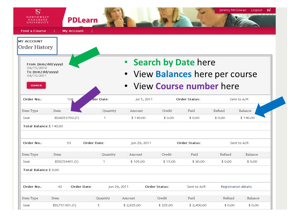 Search by Date here View Balances here per course View Course number here