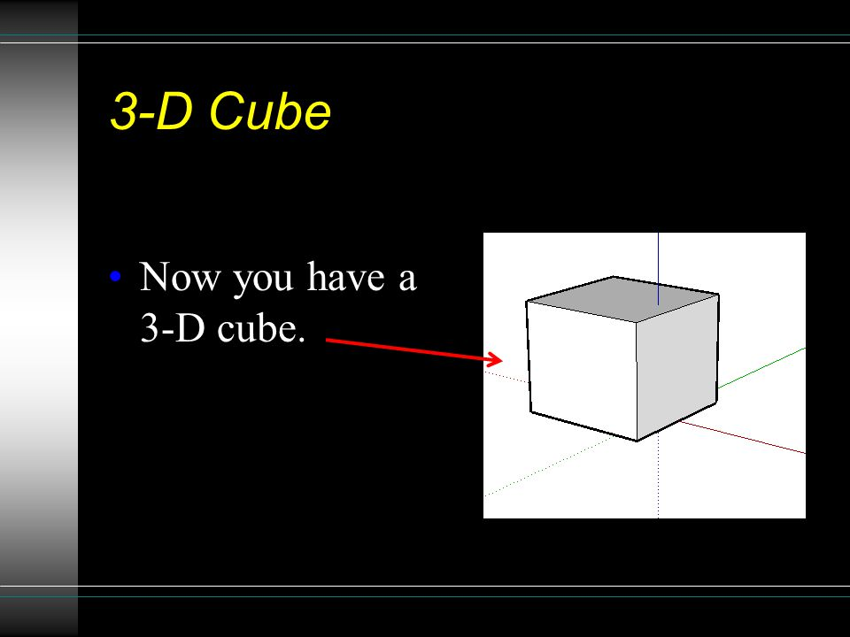 3-D Cube Now you have a 3-D cube.