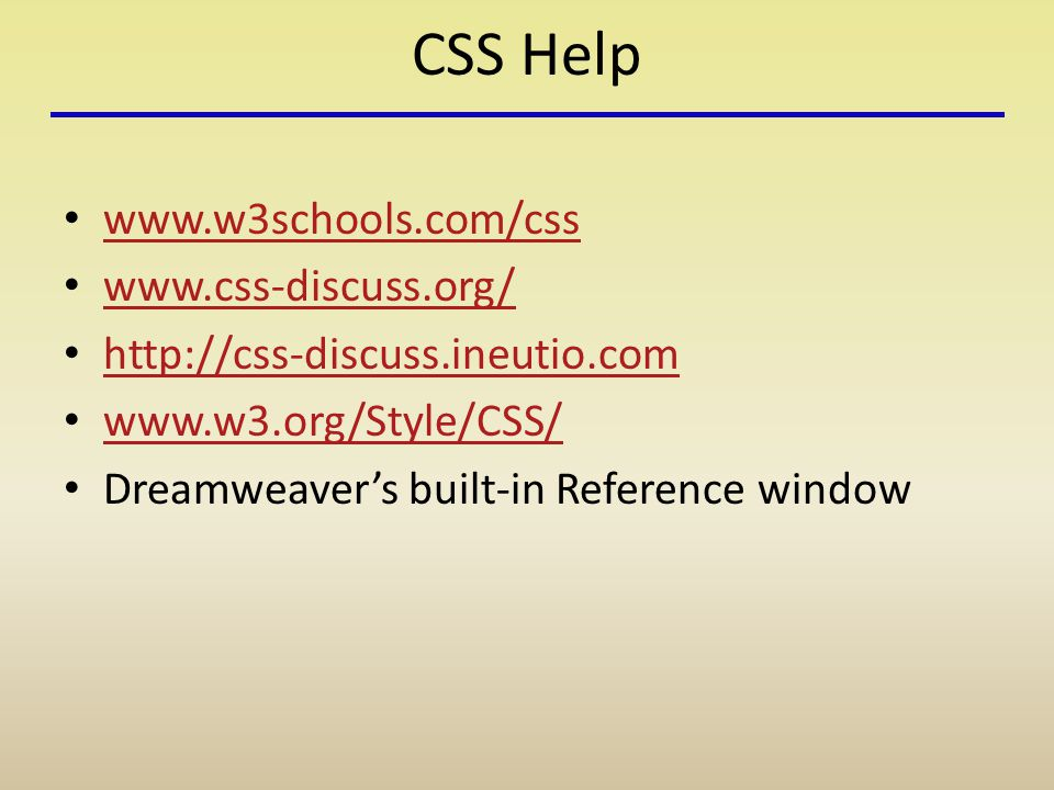 CSS Help Dreamweaver's built-in Reference window