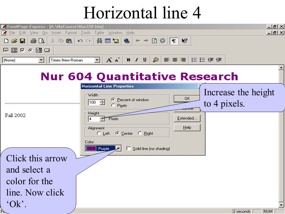 Horizontal line 3 Slide down and click 'Horizontal Line Properties'