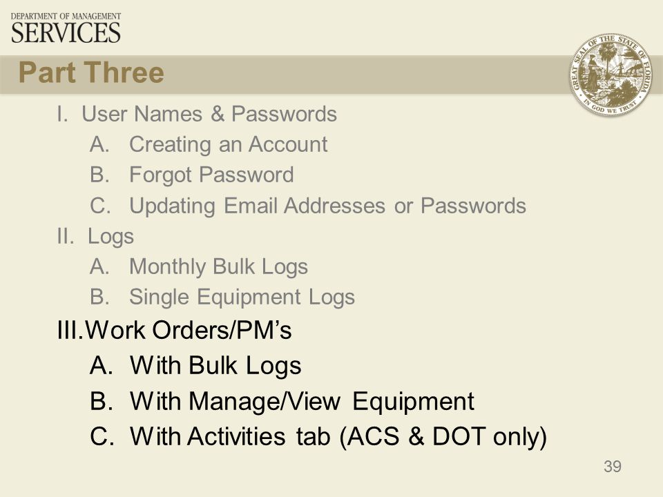 39 Part Three I.User Names & Passwords A. Creating an Account B.