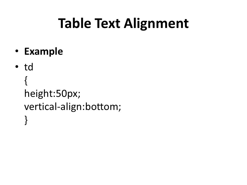 Table Text Alignment Example td { height:50px; vertical-align:bottom; }