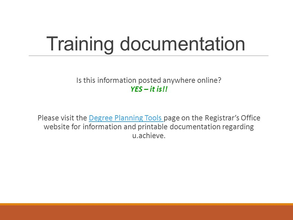Training documentation Is this information posted anywhere online.