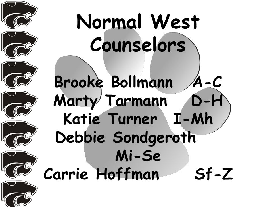 Normal West Counselors Brooke BollmannA-C Marty TarmannD-H Katie TurnerI-Mh Debbie Sondgeroth Mi-Se Carrie Hoffman Sf-Z
