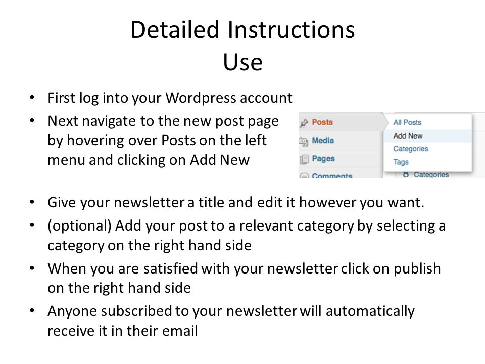 First log into your Wordpress account Next navigate to the new post page by hovering over Posts on the left menu and clicking on Add New Give your newsletter a title and edit it however you want.