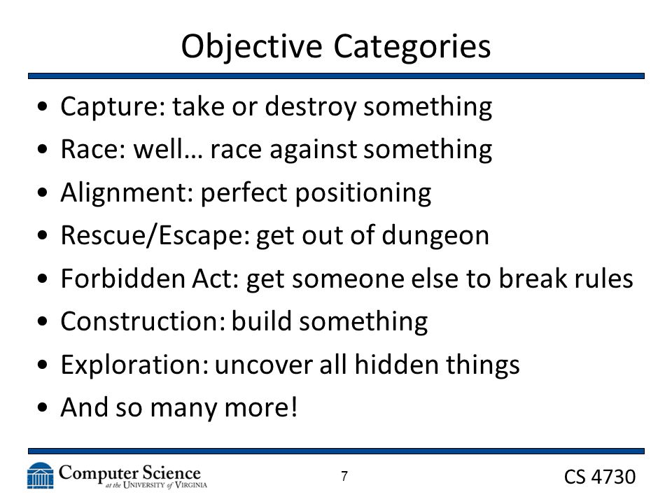 CS 4730 Objective Categories Capture: take or destroy something Race: well… race against something Alignment: perfect positioning Rescue/Escape: get out of dungeon Forbidden Act: get someone else to break rules Construction: build something Exploration: uncover all hidden things And so many more.