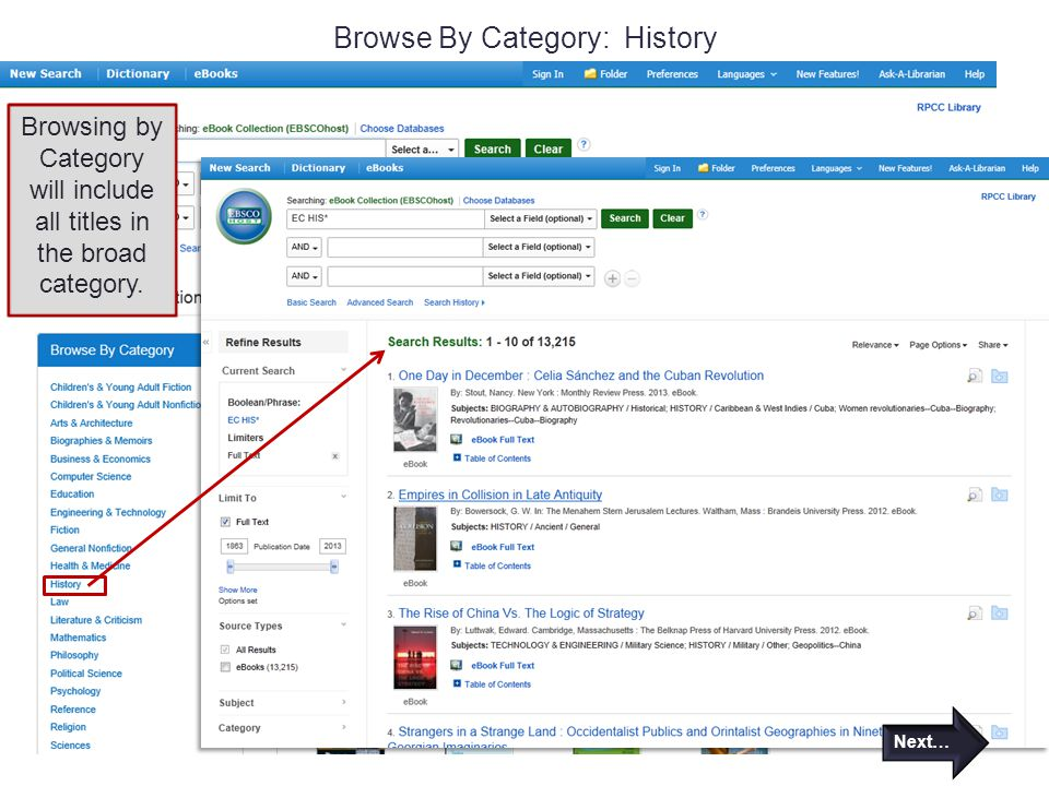 Browse By Category: History Browsing by Category will include all titles in the broad category.